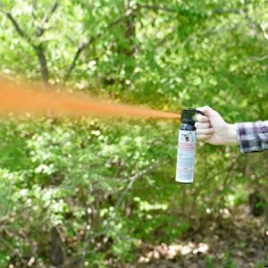 Shown here is the spray pattern of bear spray